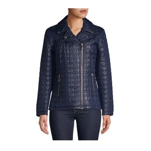 NWT Kate Spade Asymmetric Quilted Short Moto Coat